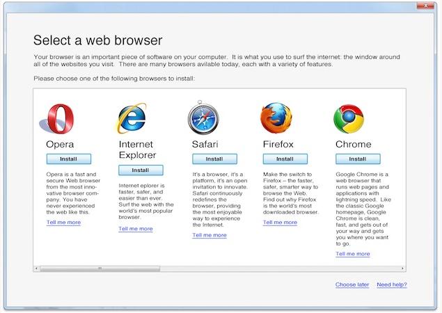 Windows l assistant d installation des navigateurs web for Choix ecran pc