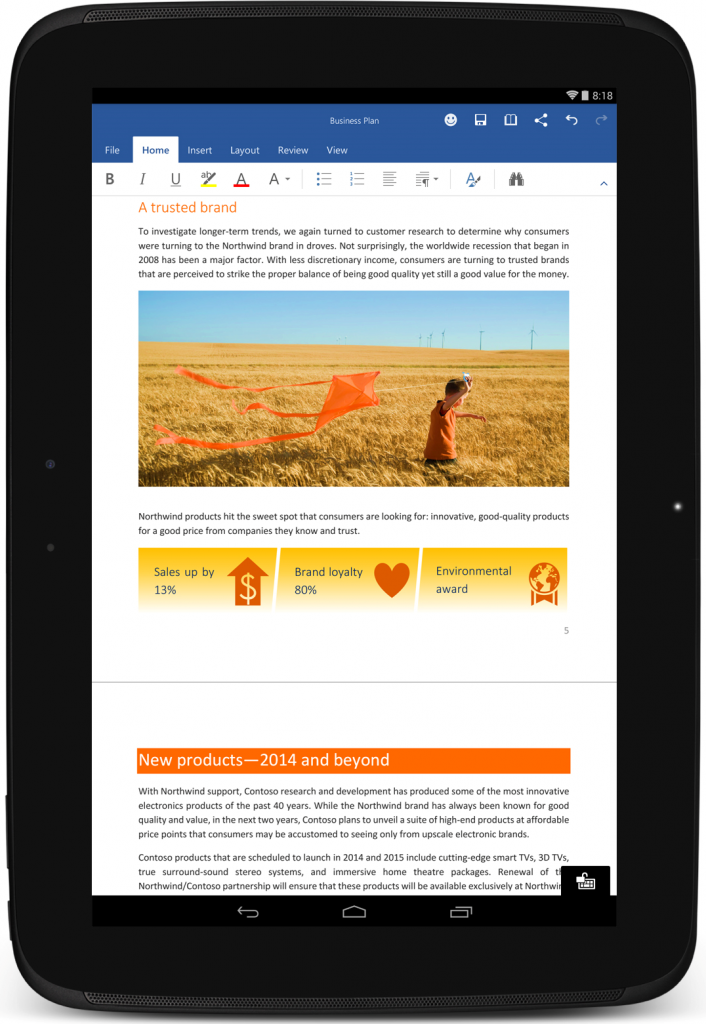 Office disponible gratuitement pour tablettes android - Open office android tablette ...